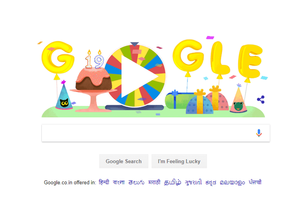 "Google is celebrating its 19th birthday with a ""Surprise Spinner"""