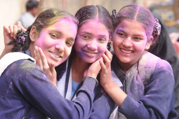 <p>St Margret School Students played and exchanged colour powder ahead of Holi festival in Ranchi on Saturday.</p>