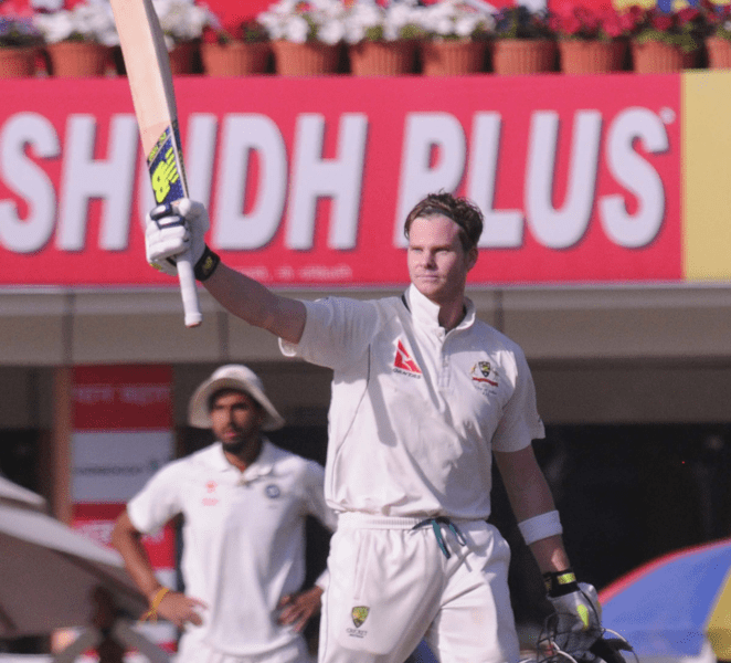 <p>Australian Skipper Steve Smith celebrates his Century on the first day of the third Test match against India at JSCA stadium in Ranchi on Thursday.</p>