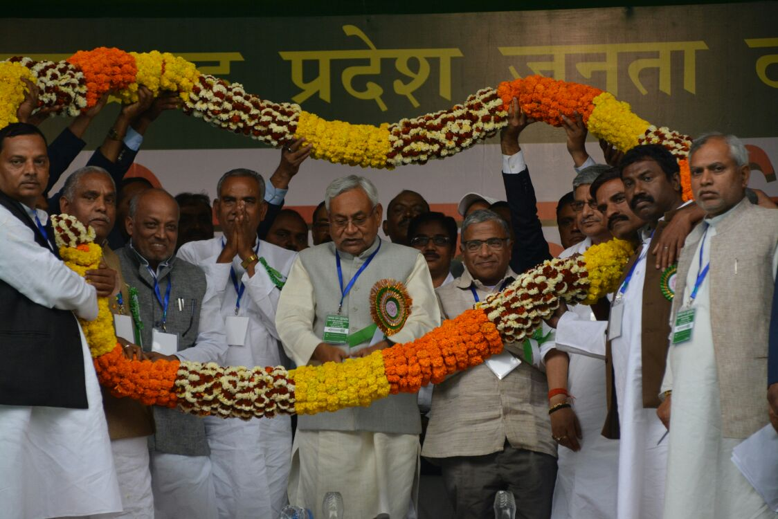 <p>CM of Bihar Nitish Kumar attending a political meeting in Ranchi on Sunday.</p>