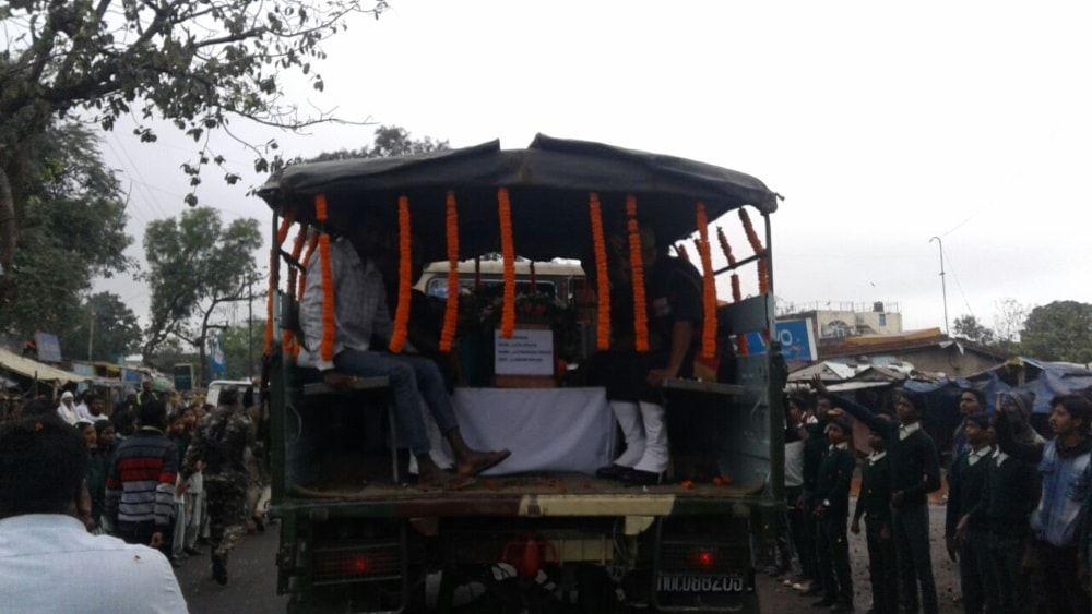 <p>The body of Jaiprakash Uraon a trooper&nbsp;of Assam Rifles who was martyred while&nbsp;fighting militants in Manipur was laid to rest in his native village in Chanho on Friday&#8230;