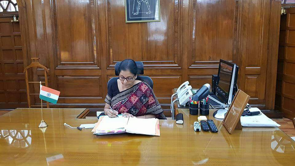 <p>Nirmala Sitharamantook chargeas Union Defence Minister in New Delhi.</p>
