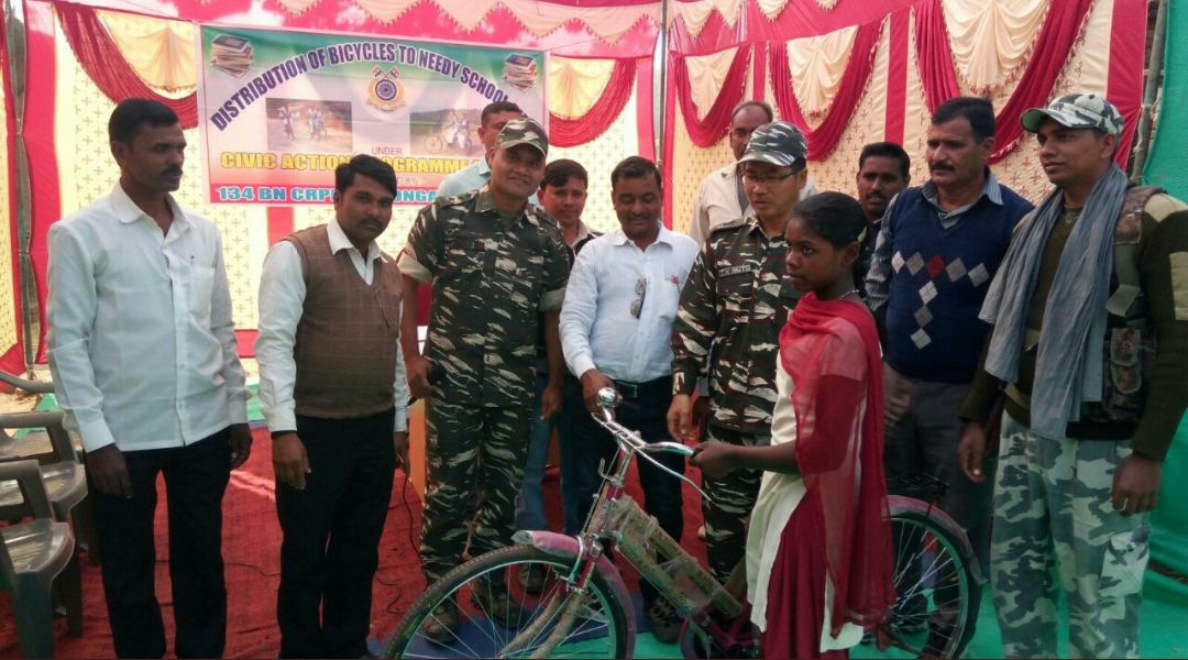<p>In an event the CRPF distributed bicycles among the needy students of Naxal affected areas of Palamau.</p>