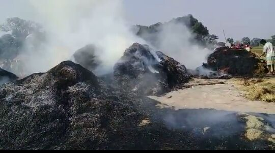 <p>In Bhalu village under Dulmi panchayat of Ramgarh district, rice straw kept in the barn after harvest caught fire.As a result a villager named Butan Mahato lost his entire…