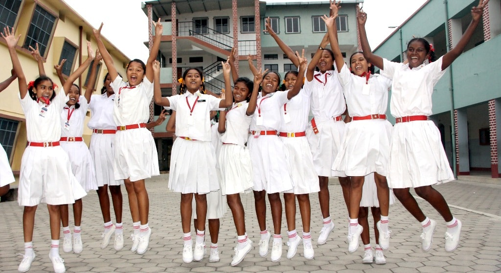 <p>Students of Ursuline Convent celebrate after Jharkhand Academic Council (JAC) declared results for class 10th&nbsp;at their school campus in Ranchi on Tuesday.</p>