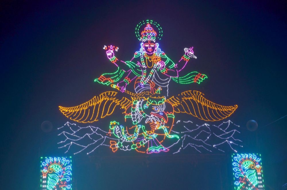 <p>Colorful LED lights outside Argora Durga Puja Pandal in Ranchi on Wednesday.</p>