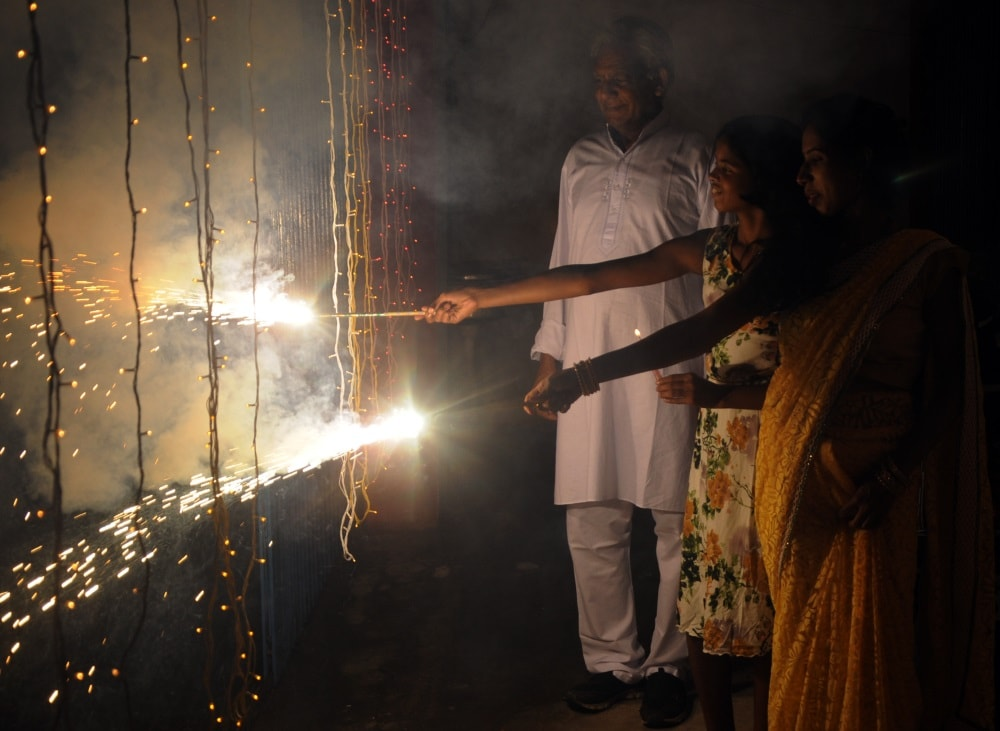 <p>People celebrating Diwali festival on a rainy day in Ranchi on Friday evening.</p>