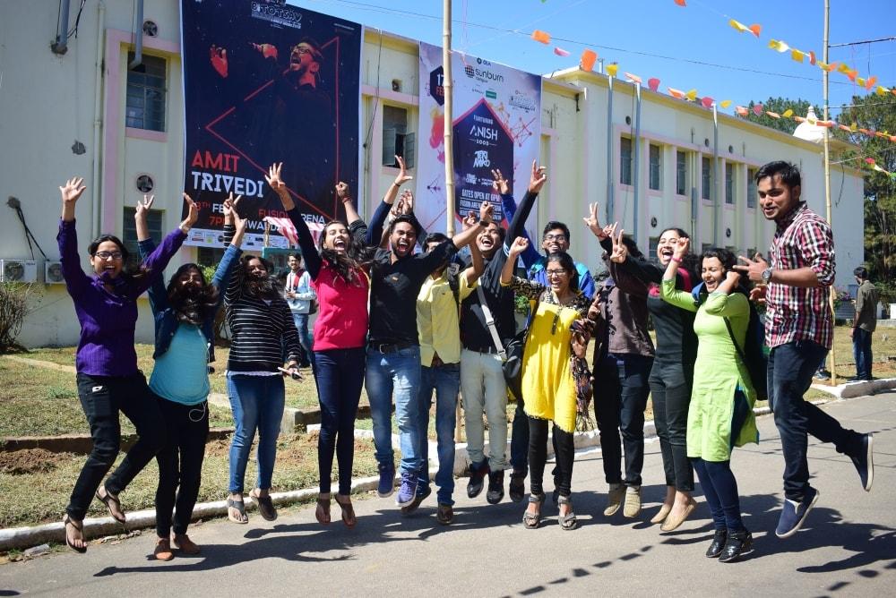 <p>Students enjoying during their annual fest &#39;BITOTSAV 18&#39;at Birla Institute of Technology, Mesra near Ranchi on Thursday</p>