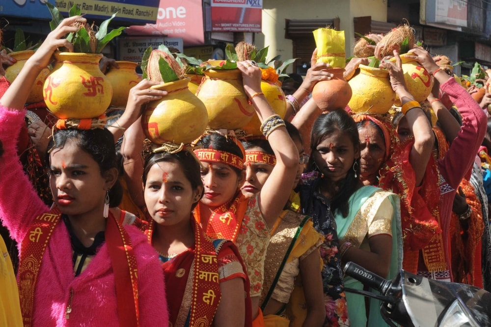 <p>Devotees take part in a Kalash Yatra during first day of Gayatri Maha Yagya at Shree Rammandir Upper Chutia in Ranchi on Thursday.</p>