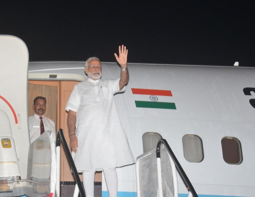 <p>माननीय प्रधानमंत्री श्री नरेंद्र मोदी अपने एक दिवसीय झारखंड दौरे से विदा लेते हुए।</p>