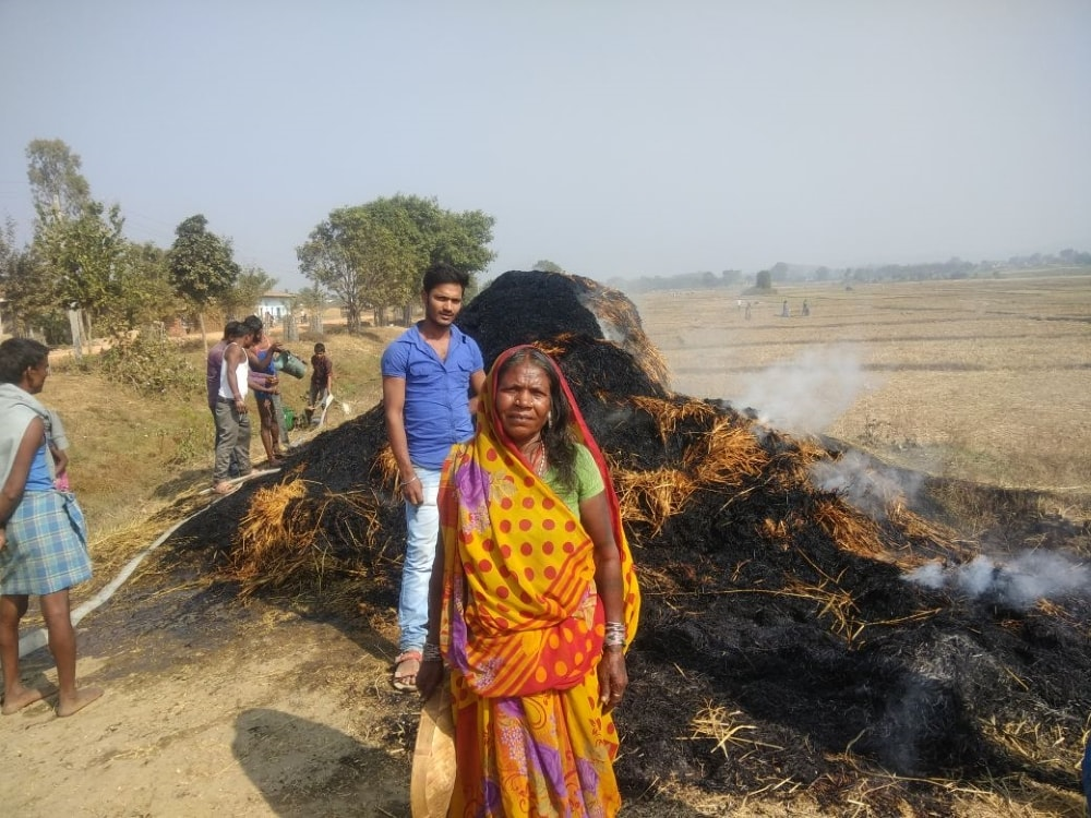 <p>A villager named Naresh Ram of Panki-Loharsi village lost some his rice harvest after it caught fire.The cause of the fire is yet to be determined.The unfortunate event occurred…
