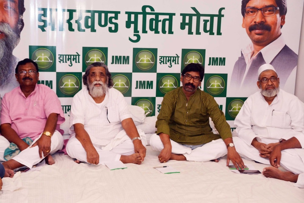 <p>Jharkhand Mukti Morcha in action.Its founder and Chief Sibu Soren (second from left) and Opposition party leader and his son Hemant Soren(third from left) during Party Working Committee…