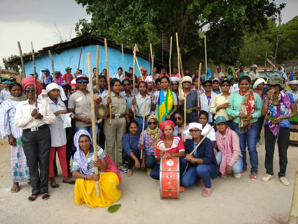 <p>Tribal women in male dress,each carrying a lathi,took part in Jani Shikar in a village in Ranchi</p>