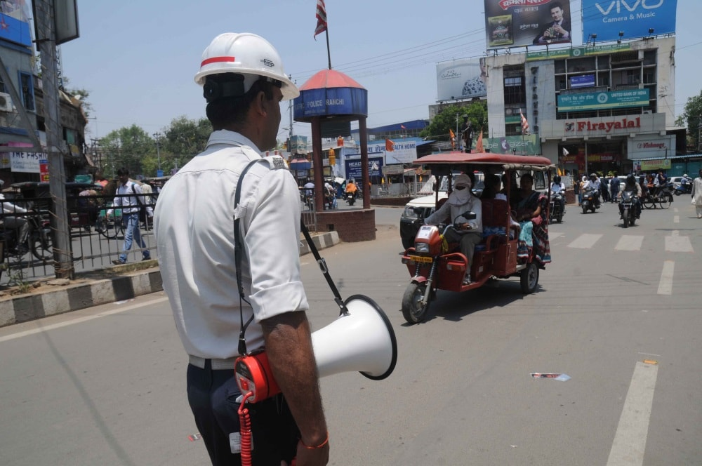 <p>Traffic police during a traffic awareness drive at Albert Ekka chowk in Ranchi on Friday.</p>