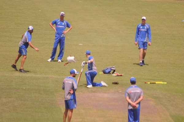 <p>Australia team members practice inside Jharkhand State Cricket Stadium ahead of their Third Test Match against India in Ranchi.</p>