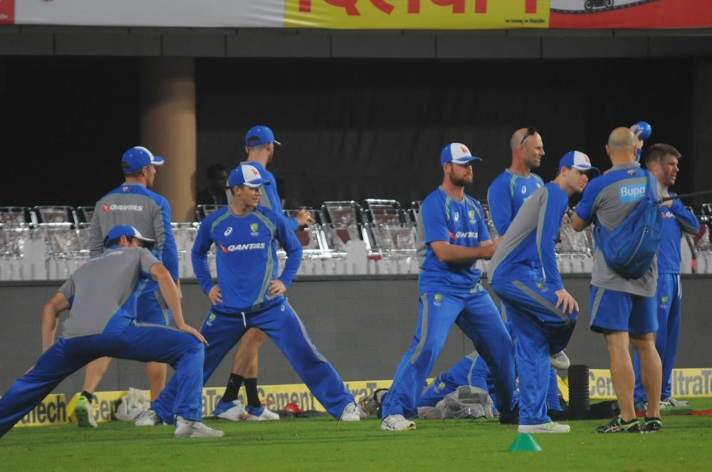 <p>Australian players during a practice session at JSCA stadium in Ranchi on Friday on the eve of their first T20 match against India.</p>