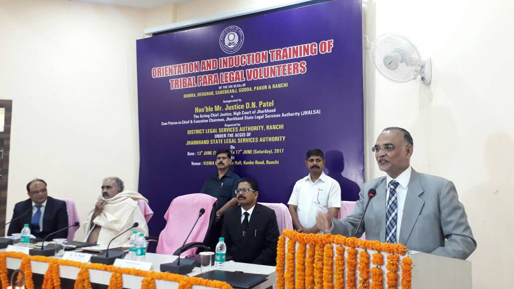 <p>Acting Chief justice of Jharkhand High court justice D N Patel addresses a gathering during the Orientation and Induction training of Tribal Para Legal Volunteers organised by Jharkhand&#8230;
