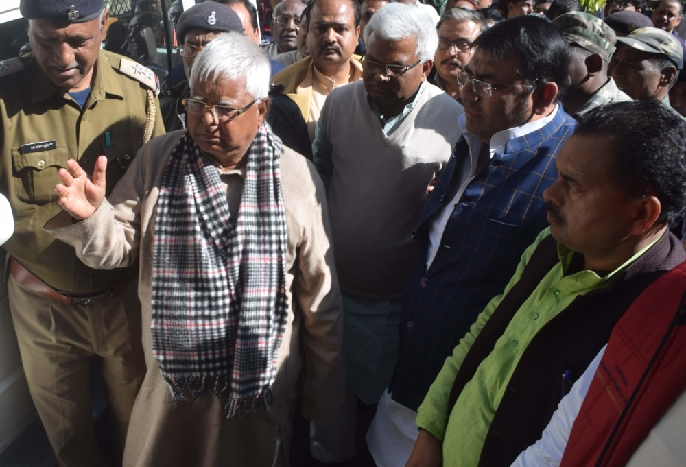 <p>Ex Bihar CM RJD chief Lalu Yadav coming out of Civil court in connection with fodder scam case in Ranchi on Moday</p>