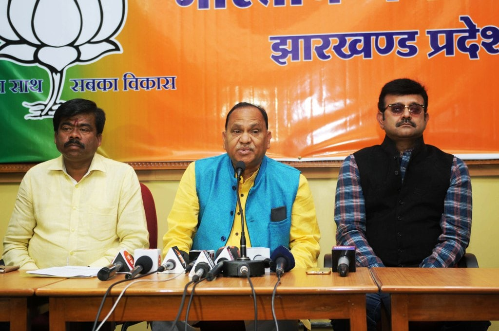 <p>Urban Development Minister CP Singh addresses media persons during a press conference at party head office in Ranchi on Friday. State spokesperson Pratul Nath Shahdev and state&#8230;