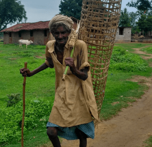 <p>Save Trees.Prevent climate change.In the outskirts of Ranchi, an elderly man carried a bamboo bracket,giving a message- Save Trees.Prevent climate change.</p>