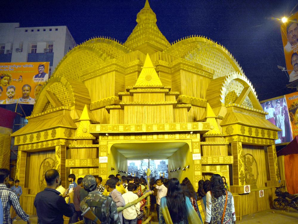 <p>A view of Chandrashekar Azad Durga Puja pandalon the occasion of 'Maha Astami Puja' during the ongoing Pujafestival in Ranchi on Wednesday.</p>