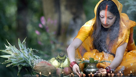 <p>Millions of devotees across the world including Bihar,West Bengal,Orissa,Maharashtra and Jharkhand in India took bath.And after having selected vegetarian lunch(without any food…