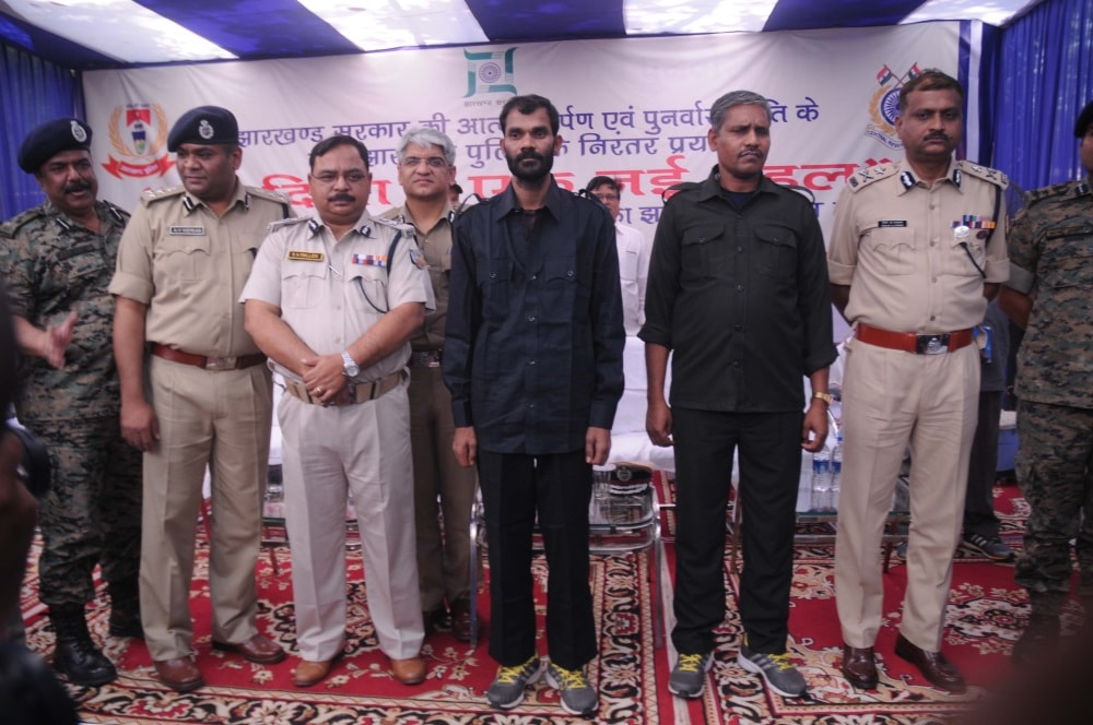 <p>Two hardcore Maoists-Nukul Yadav and Madan Yadav-who were wanted in dozens of criminal cases surrendered before the ADGP RK Mallick inside the Police Headquarter in Ranchi.</p>