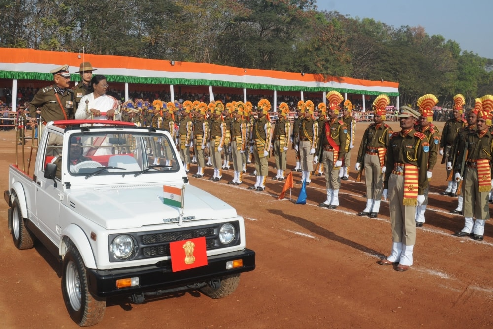 <p>Governor Droupadi Murmu inspects a parade during the 69th Republic Day celebrations&nbsp;at Morhabadi ground in Ranchi on Friday.&nbsp;</p>