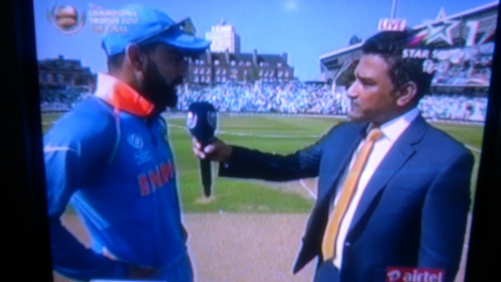 <p>With India winning the Toss and deciding to ball,Pakistan has to bat and India to chase its score.Pic on TV.</p>