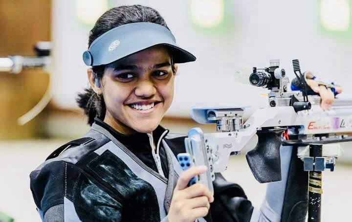 <p>India's Shreya made a record in the Asian Air Gun championship 10 metre Air Rifle competition (junior) by achieving 252.5 score and won a Gold medal</p>