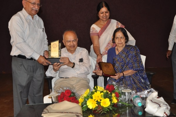 <p>Seen in the picture (sitting from Left to Right) Indian cosmologist, Dr Jayant Vishnu Narlikar and his wife Mangala Narlekar,Mathametics Researcher were given momentos at Aryabhatt&#8230;