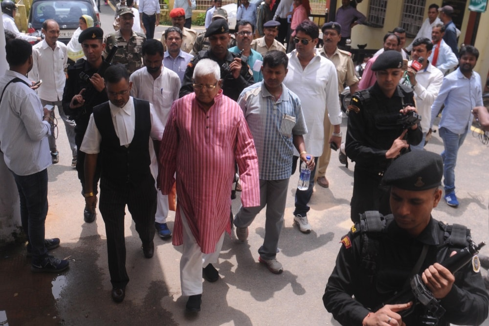 <p>RJD Chief and former Bihar Chief Minister Lalu Prasad Yadav at a special CBI court in connection with Multi-Crore fodder scam cases in Ranchi on Thursday.</p>