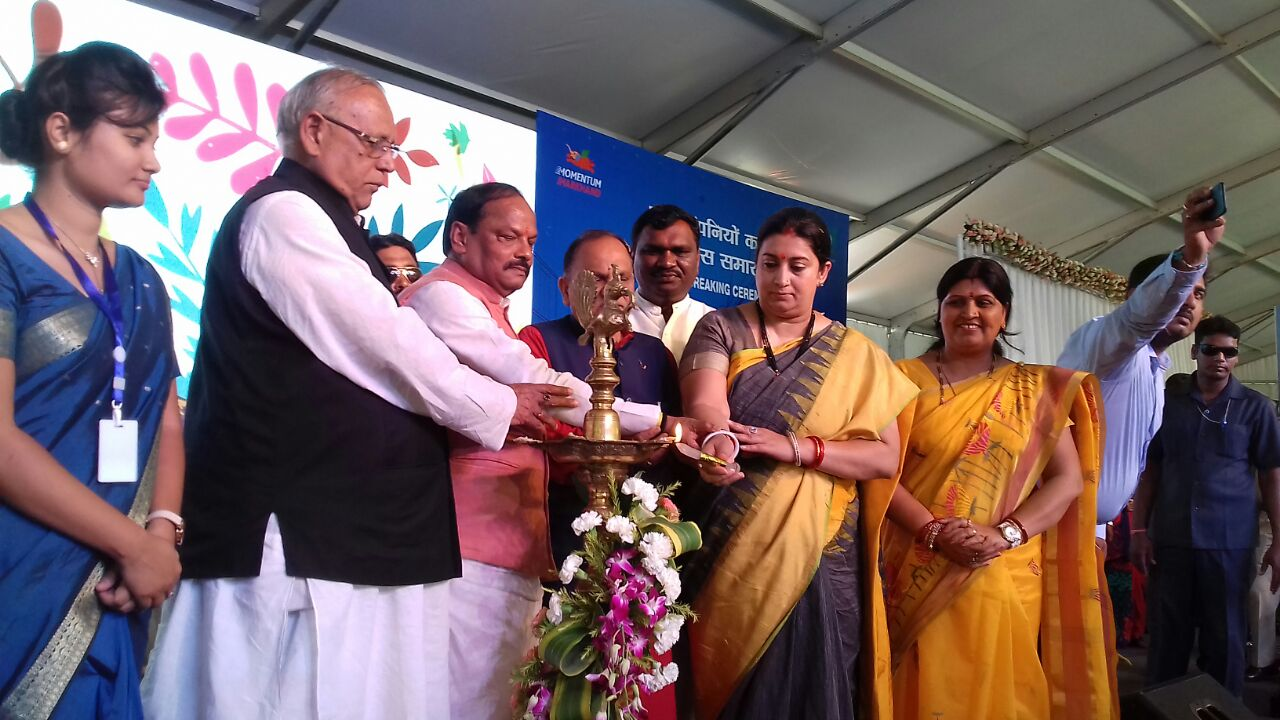 <p>CM Raghubar Das and Union Minister Smriti Irani took part today in Momentum Jharkhand- 2 in Jamshedpur where they laid foundation stones of 70 companies and inaugurated 2 companies.In&#8230;