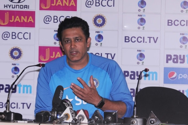 <p>Indian team coach Anil Kumble during a press conference ahead of Third Test Match between India and Australia at JSCA stadium in Ranchi</p>