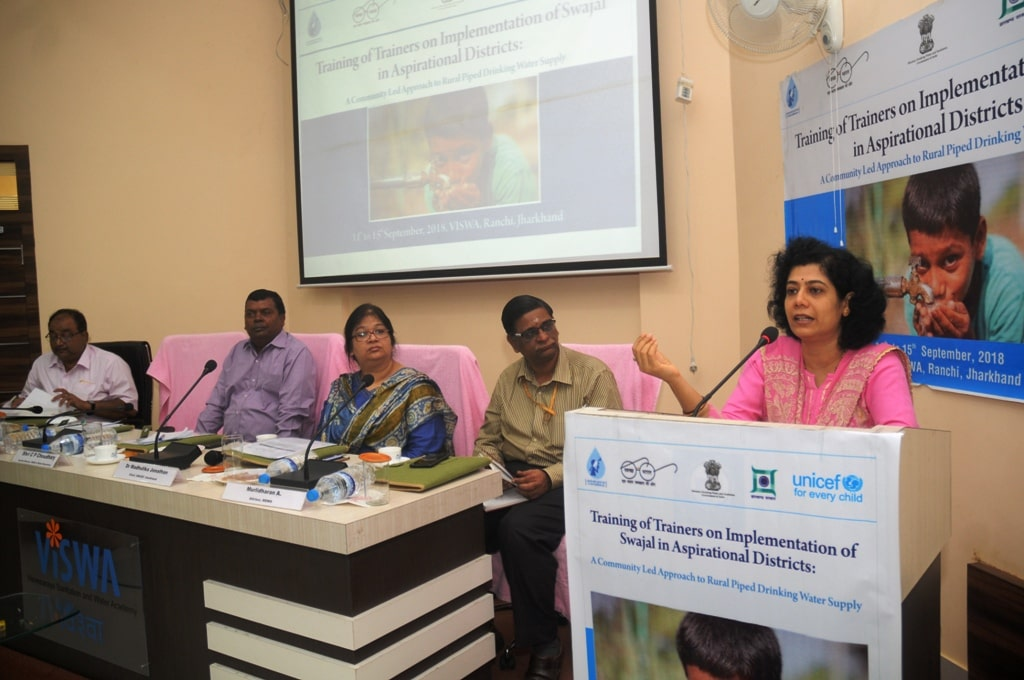 "<p>Drinking Water and Sanitation Minister Chandra Prakash Choudhary addresses a gathering during the inaugural ceremony of ""Training of Trainers on Implementation of Swajal in…"