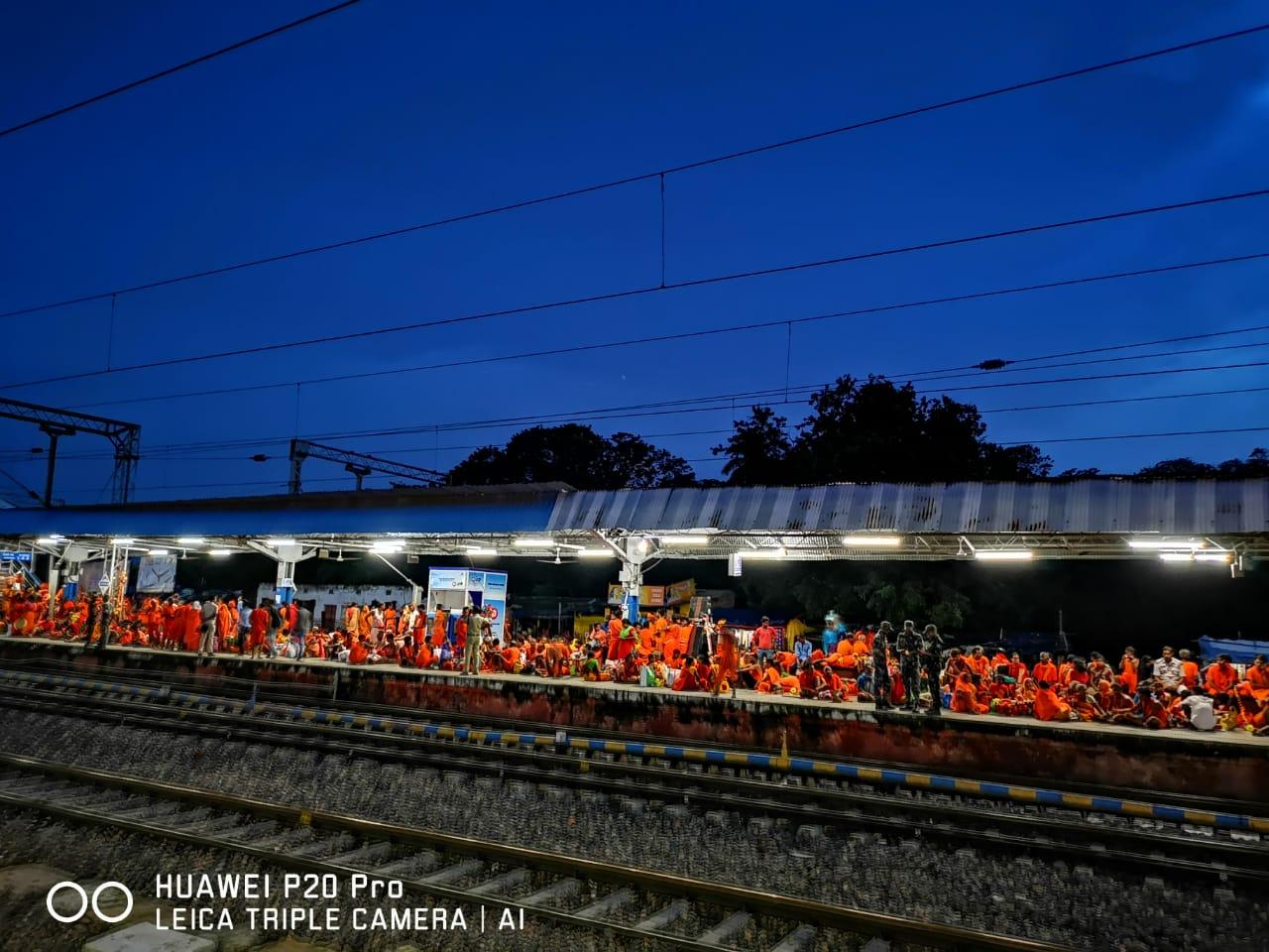 <p>Jasidih railway station platform turns saffron on the occasionof month-long Shravani Mela at Deoghar, Jharkhand.</p>