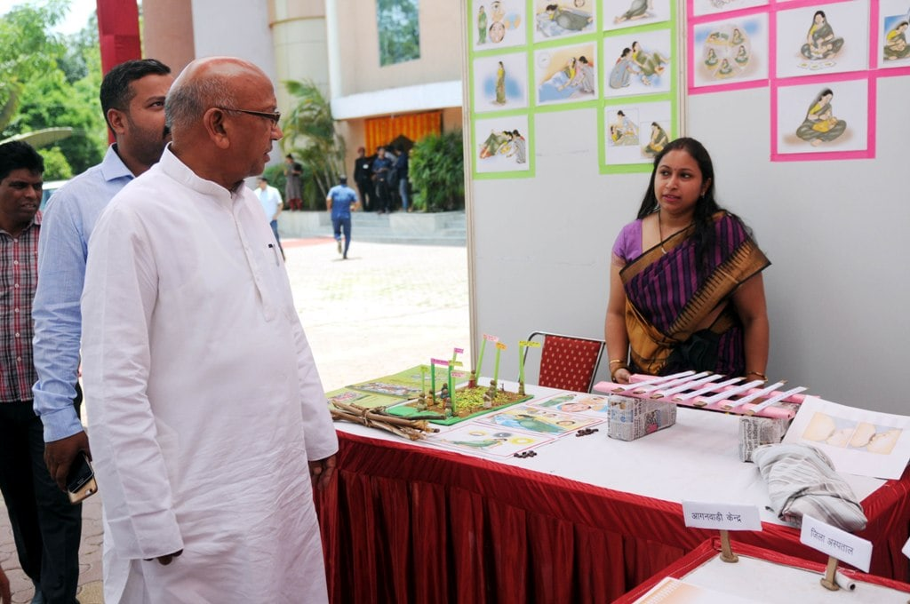 <p>Minister Saryu Rai visits various exhibits&nbsp;during PLA state level conclave, organised by Health Department at RIMS auditorium in Ranchi on Wednesday.&nbsp;</p>
