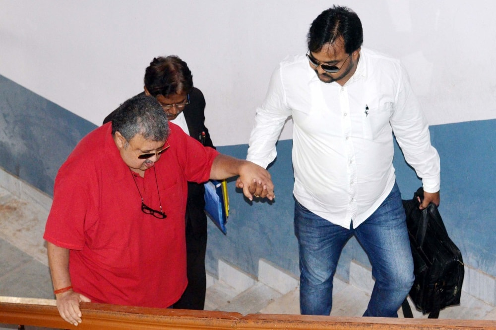 <p>Former Chief Secretary of Jharkhand Sajal Chakroborty arrives to appear at a CBI special court in connection with multi-Crore fodder scam case in Ranchi on Friday.</p>