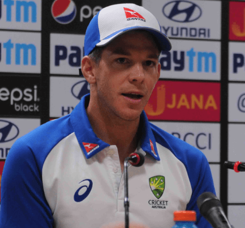 <p>Australian&nbsp;player&nbsp;Tim Taine during a press conference ahead of T-20 Cricket match against India at JSCA stadium in Ranchi on Friday.</p>