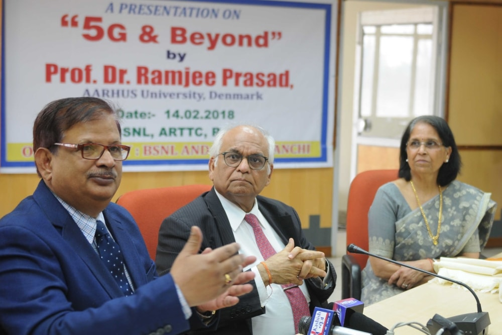 <p>Prof. Ramjee Prasad from AARHUS University Denmark along with CGMT Jharkhand KK Thakur and BITSAA Ranchi RK Chaudhary during a workshop on &#39;5G &amp; Beyond&#39;at Conference&#8230;