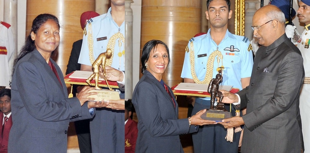 <p>President Ram Nath Kovind presented Dhyan Chand Award to hockey player Asunta Lakra (L) and the Tenzing Norgay National Adventure Award to  Premlata Agrawal for Land Adventure…