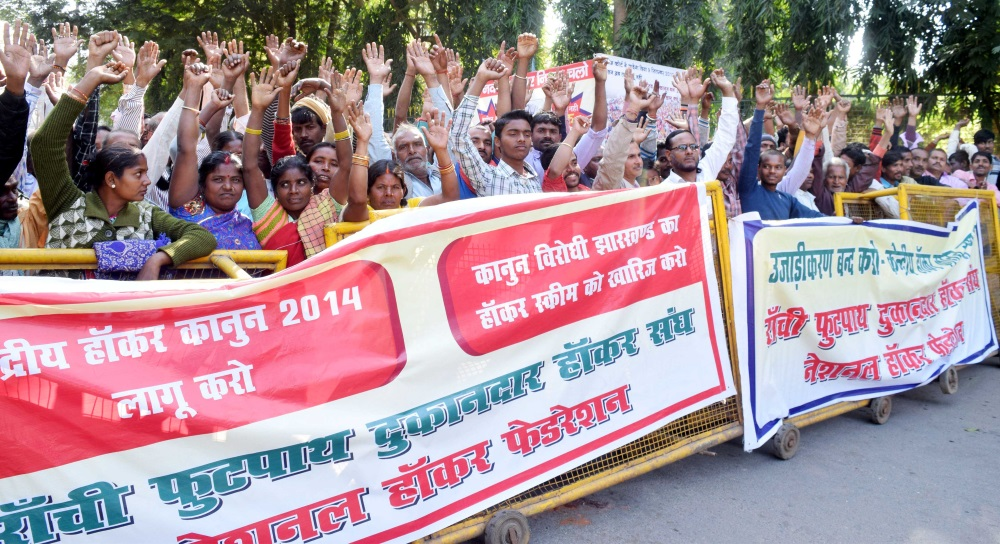<p>Ranchi Footpath Dukandar Hawker Sangh activists during a protest rally in Ranchi on Monday.</p>
