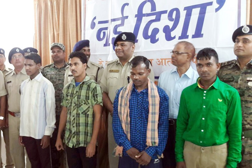 <p>Four CPI (Maoists) members surrendered before Lohardaga Superintendent of Police and senior police officials during Operation Nai Disha at Lohardaga district of Jharkhand.</p>