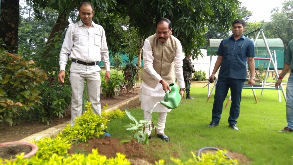 <p>Jharkhand CM Raghubar Das planted saplings inside his official residence in Ranchi and appealed to people to plant more and more trees for clean and green environment</p>