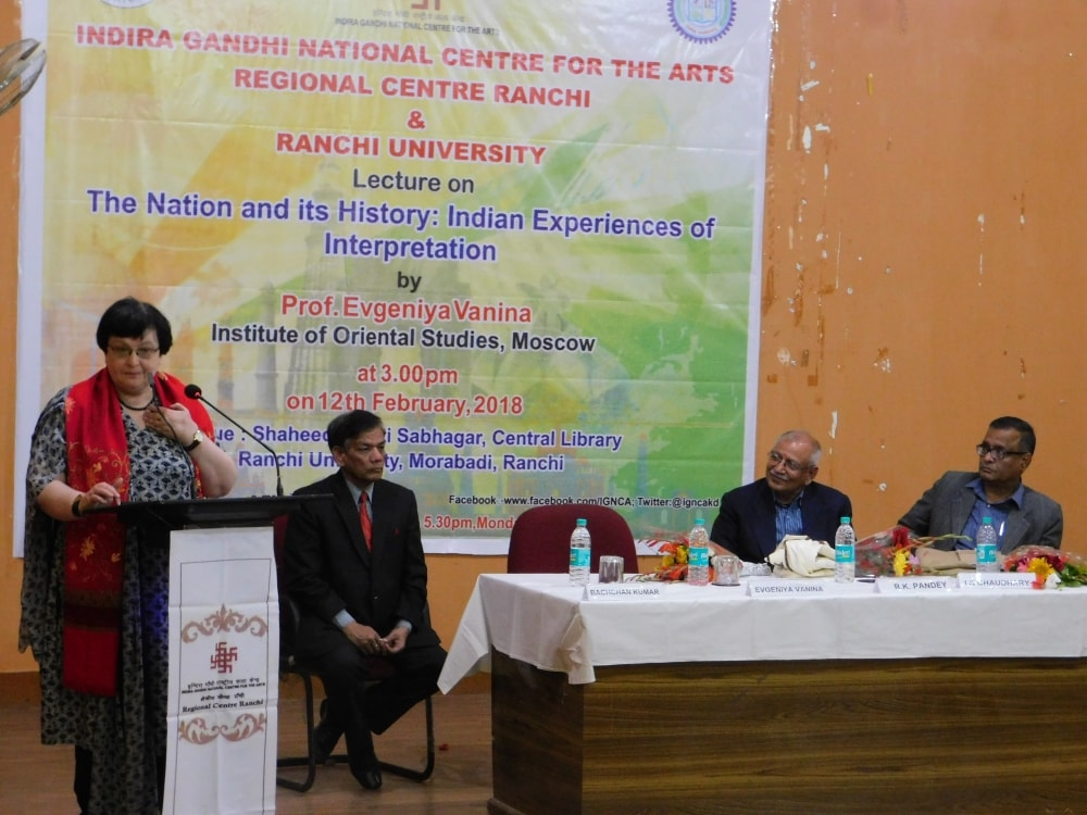<p>Indira Gandhi National Centre for the Arts, Ranchi Regional Centre,and Ranchi University organised a lecture on the topic &lsquo;The Nation and its History: Indian Experiences and&#8230;