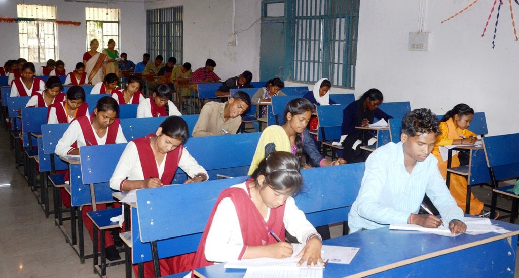 <p>Students appear in a (JAC) intermediate exams at an examination center in Ranchi on Saturday.&nbsp;</p>