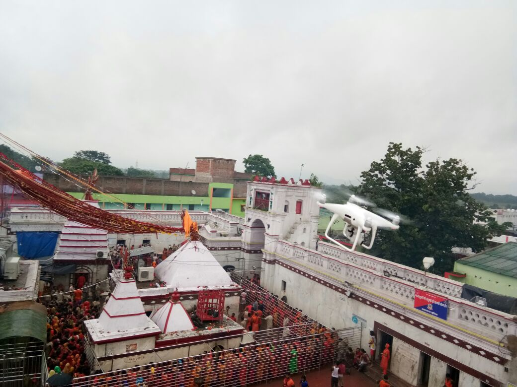 <p>Drone being used for Shravani Mela at Basukibath to keep vigil over devotees.</p>