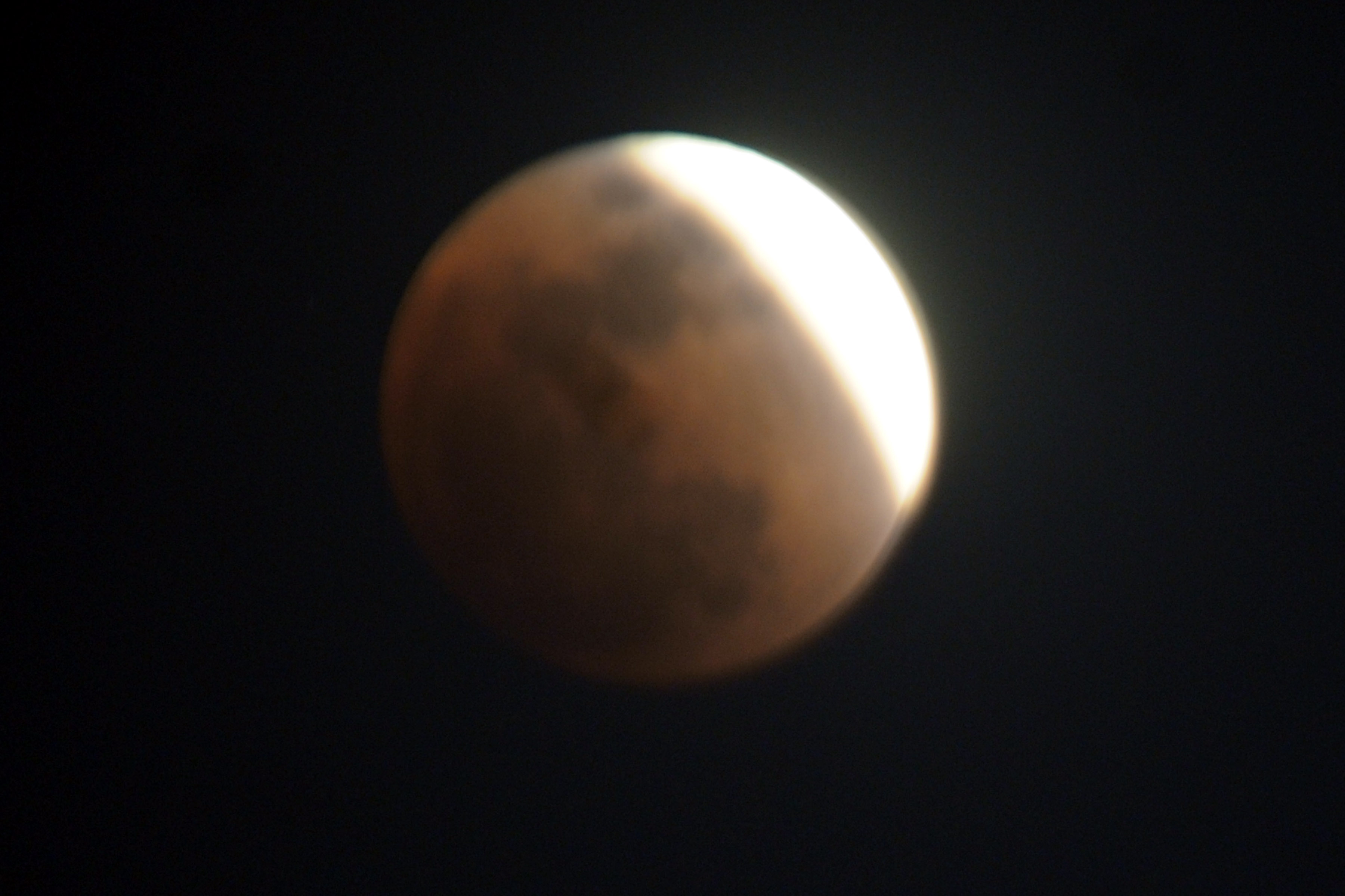 <p>Lunar eclipse as seen from Ranchi on Wednesday evening.</p>