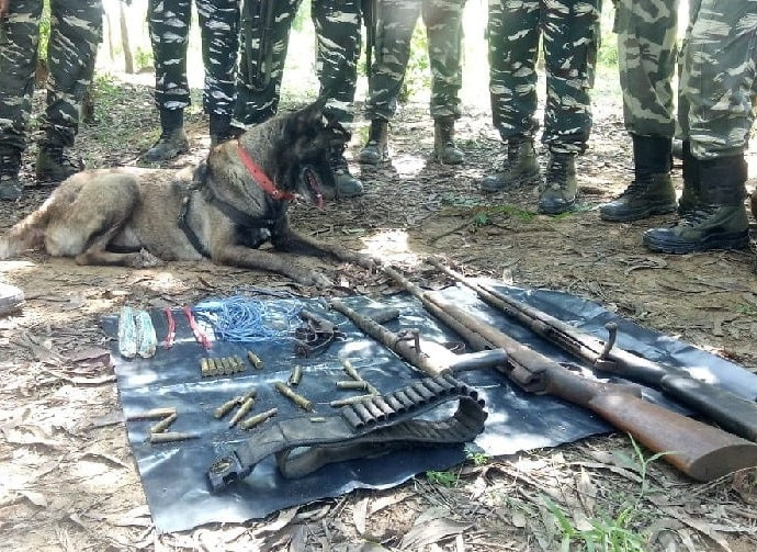 <p>A dog helps security men recover arms: CRPF used their highly trained dog during their search operation in Naxal infested areas and recovered today arms and ammunitions inside Katya…