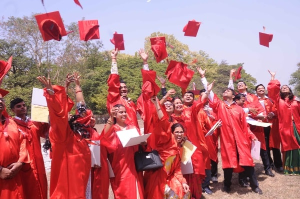 <p>Students jubilant during their 27th convocation of Birla Institute of Technology Mesra near Ranchi on Friday.</p>
